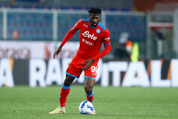 GENOA, ITALY - SEPTEMBER 23: (BILD OUT) Andre Anguissa of SSC Napoli controls the ball during the Serie A match between UC Sampdoria and SSC Napoli at Stadio Luigi Ferraris on September 23, 2021 in Genoa, Italy. (Photo by Matteo Ciambelli/DeFodi Images via Getty Images)