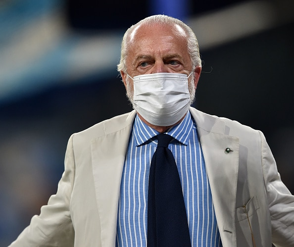 NAPLES, ITALY - SEPTEMBER 11: Aurelio De Laurentis President of SSC Napoli during the Serie A match between SSC Napoli and Juventus at Stadio Diego Armando Maradona on September 11, 2021 in Naples, Italy.  (Photo by Giuseppe Bellini/Getty Images)