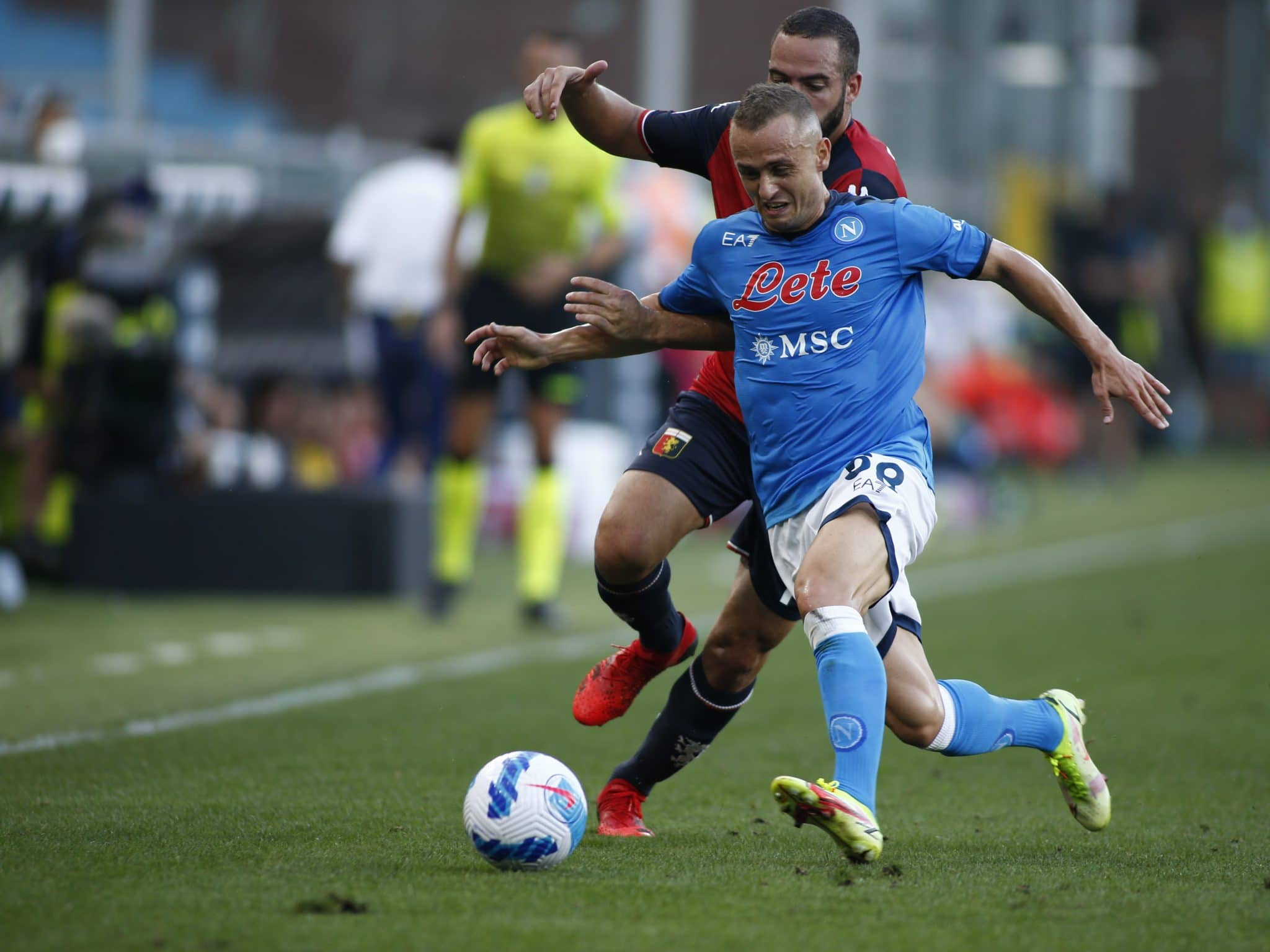 Stanislav Lobotka during the Serie A match between Genoa CFC and SSC Napoli at Stadio Luigi Ferraris on August 29, 2021 in Genoa, Italy. (Photo by Loris Roselli/NurPhoto via Getty Images)