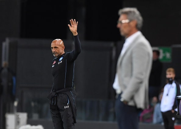 UDINE, ITALY - SEPTEMBER 20: Luciano Spalletti of Napoli during the Serie A match between Udinese Calcio and SSC Napoli at Dacia Arena on September 20, 2021 in Udine, Italy. (Photo by SSC NAPOLI/SSC NAPOLI via Getty Images)