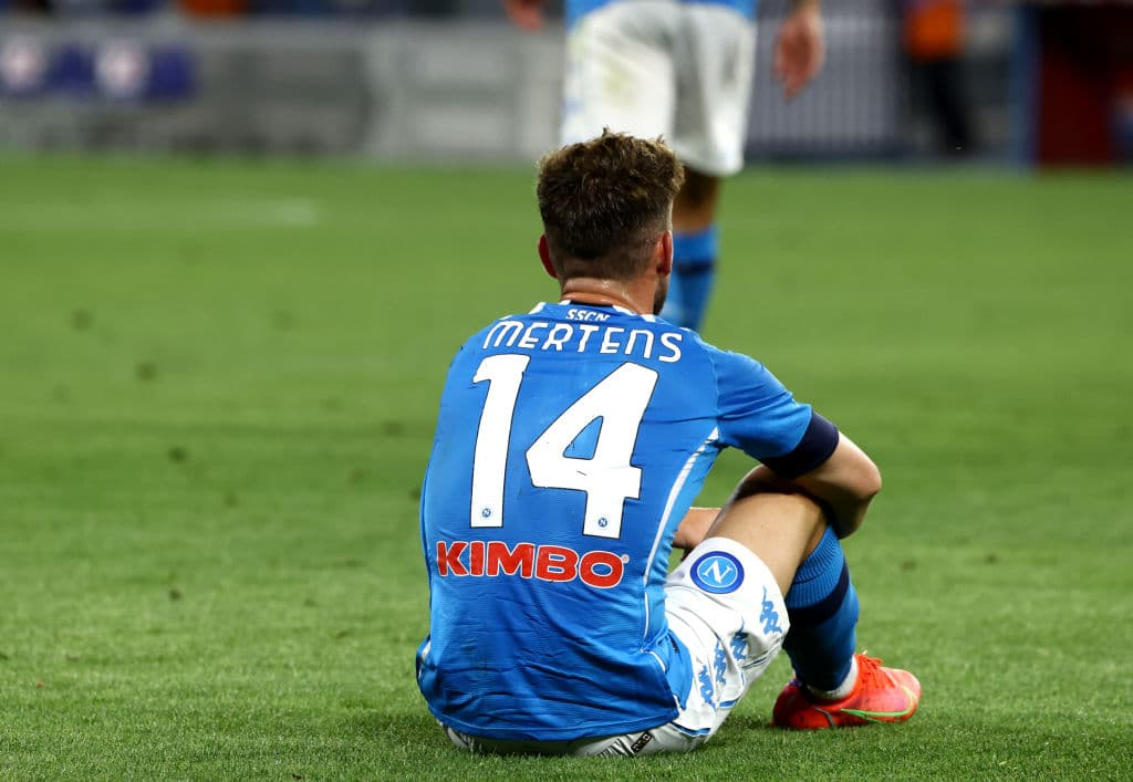 NAPLES, ITALY - MAY 23: Dries Mertens of SSC Napoli sits on the field during the Serie A match between SSC Napoli and Hellas Verona FC at Stadio Diego Armando Maradona on May 23, 2021 in Naples, Italy. (Photo by MB Media/Getty Images)