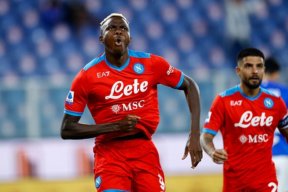 GENOA, ITALY - SEPTEMBER 23: (BILD OUT) Victor Osimhen of SSC Napoli celebrates after scoring his team's third goal during the Serie A match between UC Sampdoria and SSC Napoli at Stadio Luigi Ferraris on September 23, 2021 in Genoa, Italy. (Photo by Matteo Ciambelli/DeFodi Images via Getty Images)