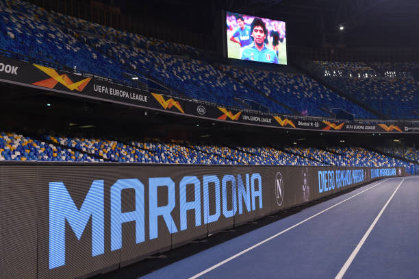 NAPLES, ITALY - NOVEMBER 26: Detailed view of the big screen showing a picture in memory of the deceased Diego Maradona prior to the UEFA Europa League Group F stage match between SSC Napoli and HNK Rijeka at Stadio San Paolo on November 26, 2020 in Naples, Italy. Sporting stadiums around Italy remain under strict restrictions due to the Coronavirus Pandemic as Government social distancing laws prohibit fans inside venues resulting in games being played behind closed doors. (Photo by Francesco Pecoraro/Getty Images)