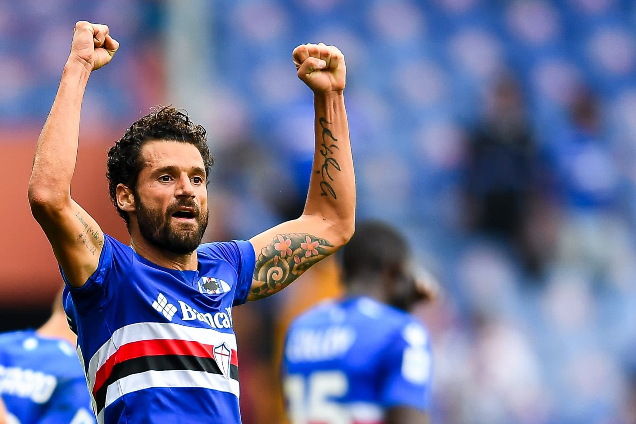 GENOA, ITALY - OCTOBER 3: Antonio Candreva of Sampdoria celebrates after scoring a goal during the Serie A match between UC Sampdoria and Udinese Calcio at Stadio Luigi Ferraris on Ctober 3, 2021 in Genoa, Italy. (Photo by Getty Images)