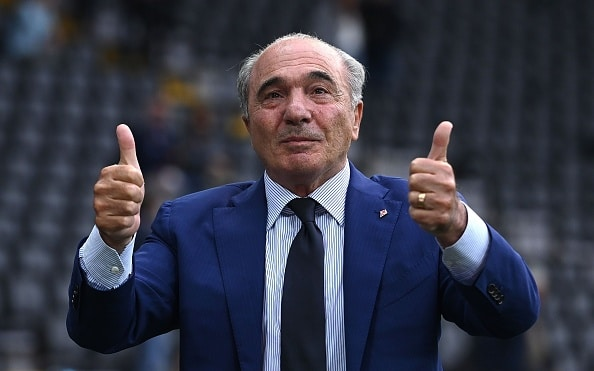 UDINE, ITALY - SEPTEMBER 26:ACF Fiorentina President Rocco Commisso celebrates the victroy during the Serie A match between Udinese Calcio and ACF Fiorentina at Dacia Arena on September 26, 2021 in Udine, Italy. (Photo by Alessandro Sabattini/Getty Images)