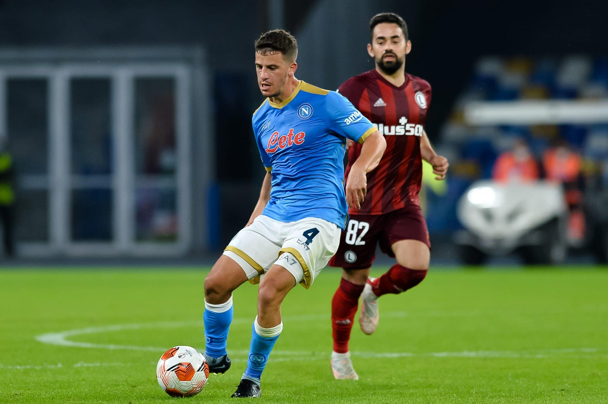 NAPLES, ITALY - OCTOBER 21: Diego Demme of SSC Napoli during the Group C - UEFA Europa League match between SSC Napoli and Legia Warszawa at Stadio Diego Armando Maradona on October 21, 2021 in Naples, Italy (Photo by Ciro Santangelo/BSR Agency/Getty Images)