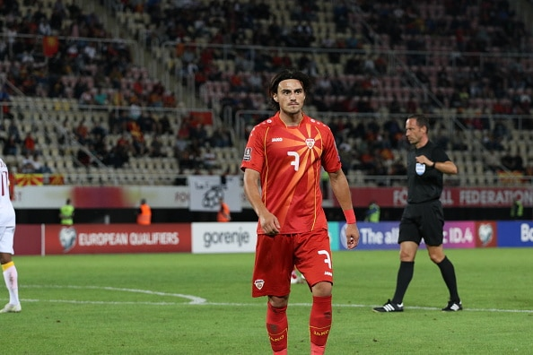 SKOPJE, NORTH MACEDONIA - SEPTEMBER 02: Eljif Elmas (7) of North Macedonia feels upset at the end of the FIFA World Cup 2022 qualifiers Group J football match between North Macedonia and Armenia at Tose Proeski Arena in Skopje, North Macedonia on September 02, 2021. (Photo by Furkan Abdula/Anadolu Agency via Getty Images)