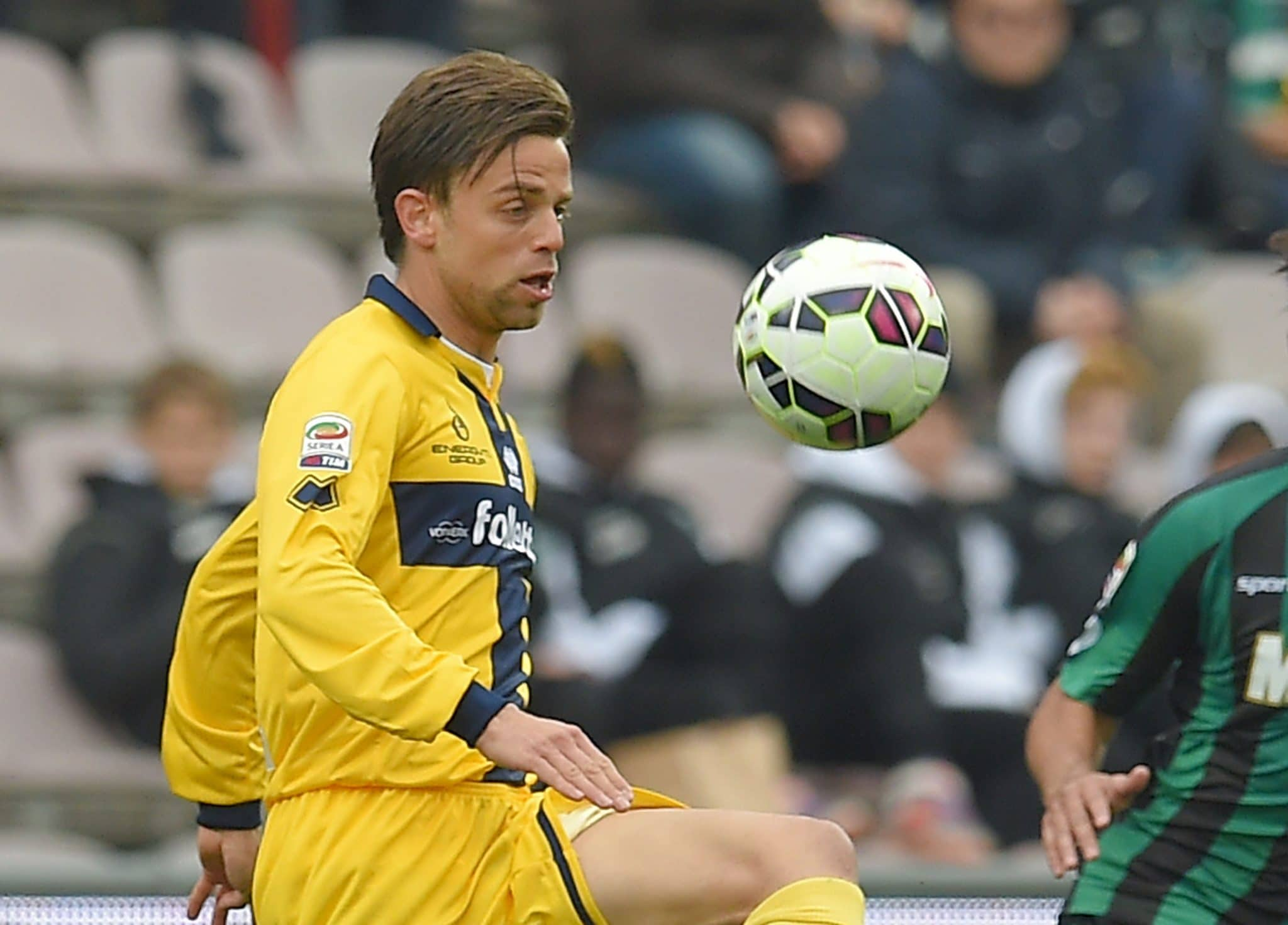 REGGIO NELL'EMILIA, ITALY - MARCH 15:  Daniele Galloppa of Parma in action during the Serie A match between US Sassuolo Calcio and Parma FC at Mapei Stadium on March 15, 2015 in Reggio nell'Emilia, Italy.  (Photo by Giuseppe Bellini/Getty Images)