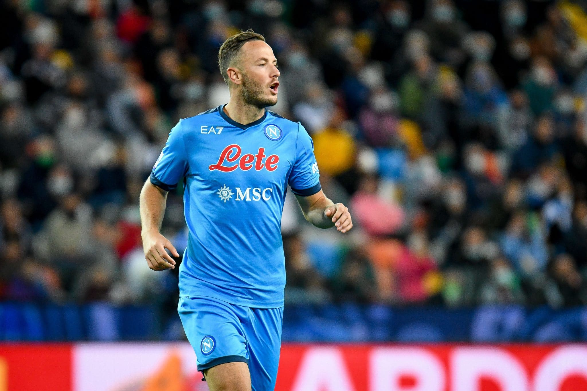 Amir Rrahmani (Napoli) during the Italian football Serie A match Udinese Calcio vs SSC Napoli on September 20, 2021 at the Friuli - Dacia Arena stadium in Udine, Italy (Photo by Ettore Griffoni/LiveMedia/NurPhoto via Getty Images)