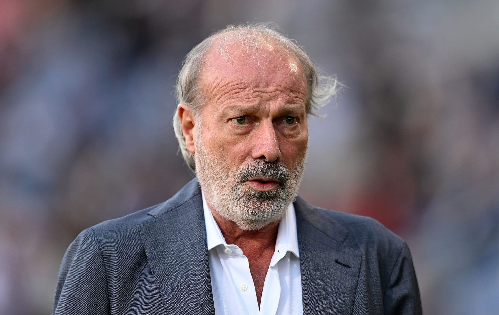 BOLOGNA, ITALY - SEPTEMBER 21: Walter Sabatini of Bologna FC looks on during the Serie A match between Bologna FC v Genoa CFC at Stadio Renato Dall'Ara on September 21, 2021 in Bologna, Italy. (Photo by Alessandro Sabattini/Getty Images)