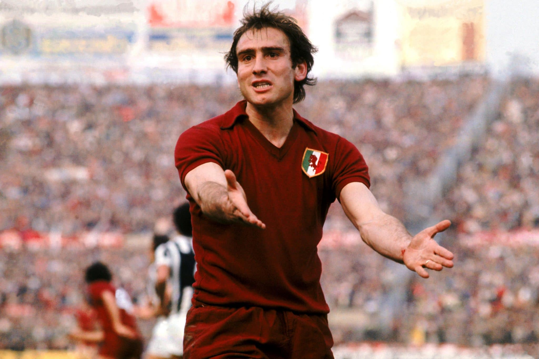 Torino's Francesco Graziani complains to the referee  (Photo by Peter Robinson/EMPICS via Getty Images)