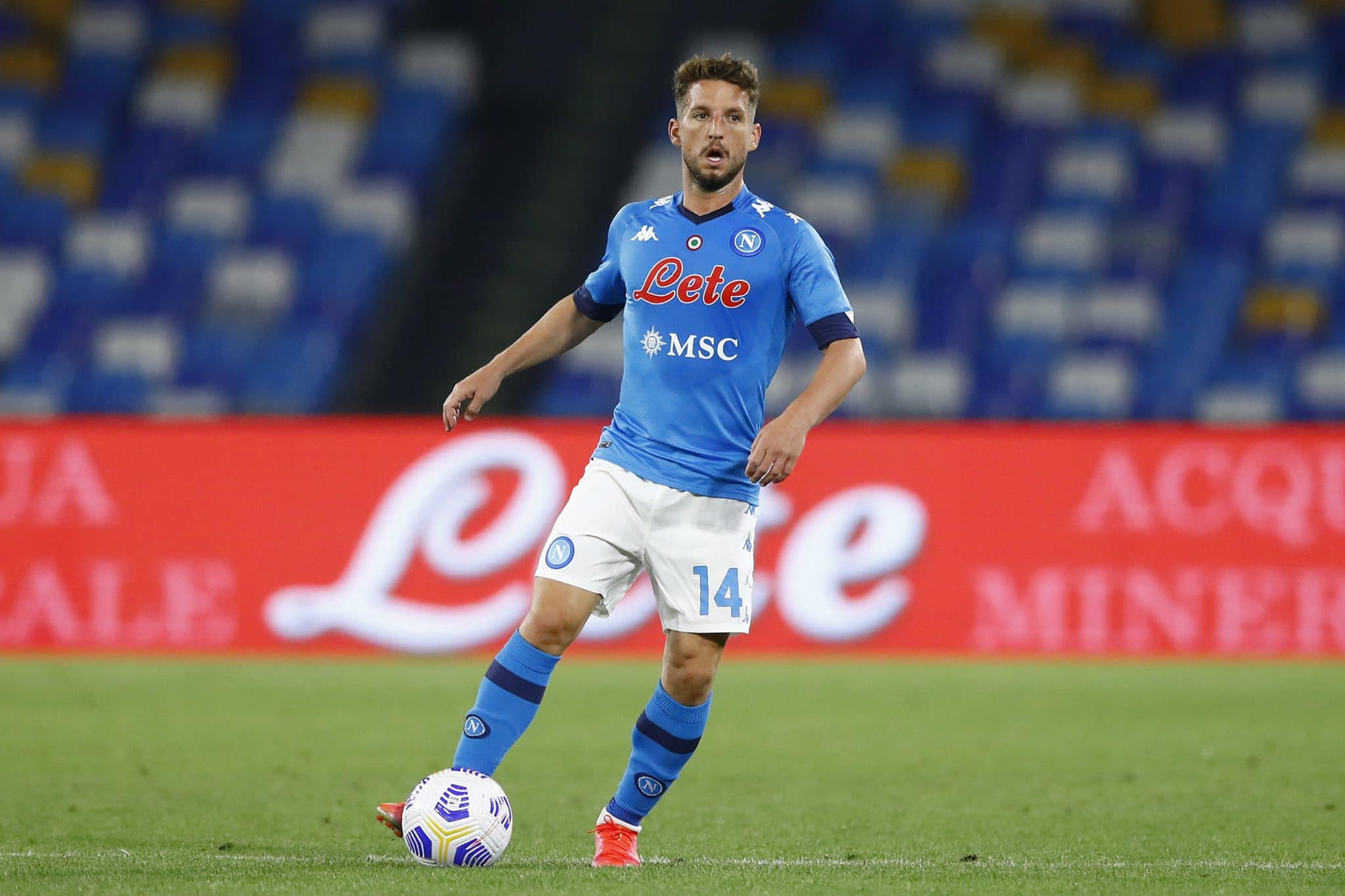 NAPLES, ITALY - MAY 23: (BILD ZEITUNG OUT) Dries Mertens of SSC Napoli controls the ball during the Serie A match between SSC Napoli and Hellas Verona FC at Stadio Diego Armando Maradona on May 23, 2021 in Naples, Italy. (Photo by Matteo Ciambelli/DeFodi Images via Getty Images)