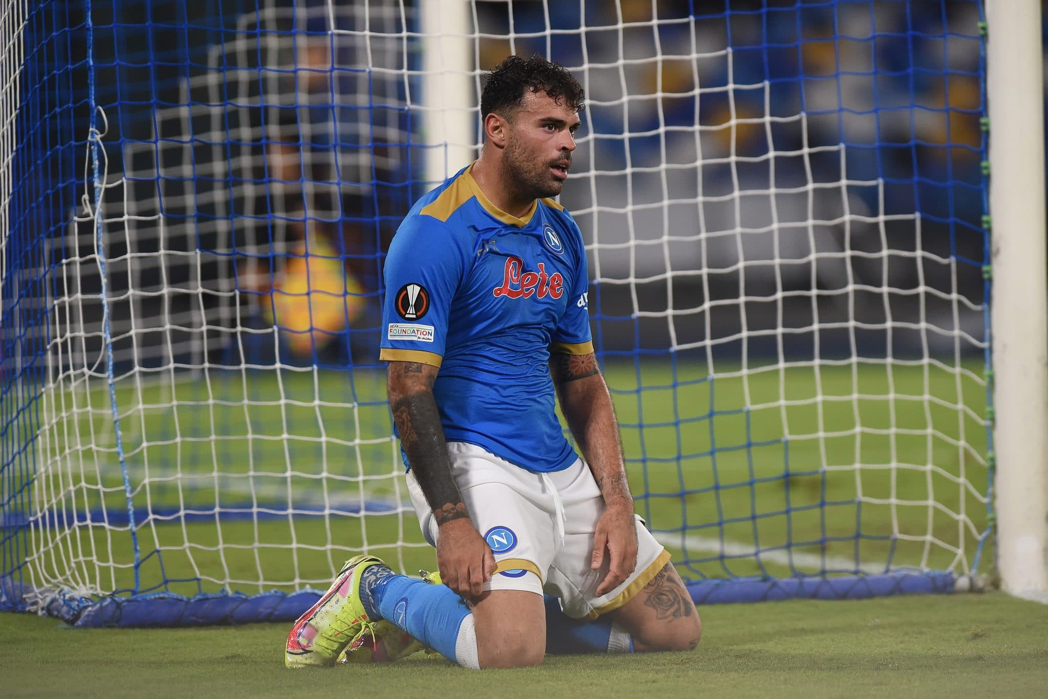 Andrea Petagna of SSC Napoli looks Dejected during the UEFA Europa League Group C match between SSC Napoli and FC Spartak Moscow at Stadio Diego Armando Maradona Naples Italy on 30 September 2021. (Photo by Franco Romano/NurPhoto via Getty Images)