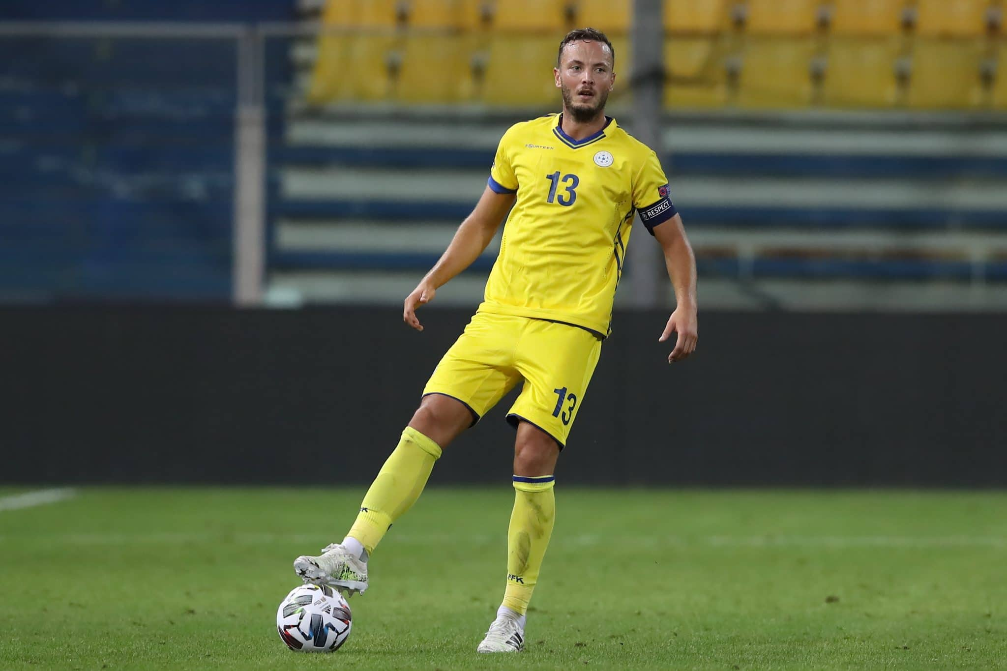 PARMA, ITALY - SEPTEMBER 03: Amir Rrahmani of Kosovo during the UEFA Nations League group stage match between Moldova and Kosovo at Ennio Tardini Stadium on September 03, 2020 in Parma, Italy. (Photo by Jonathan Moscrop/Getty Images)