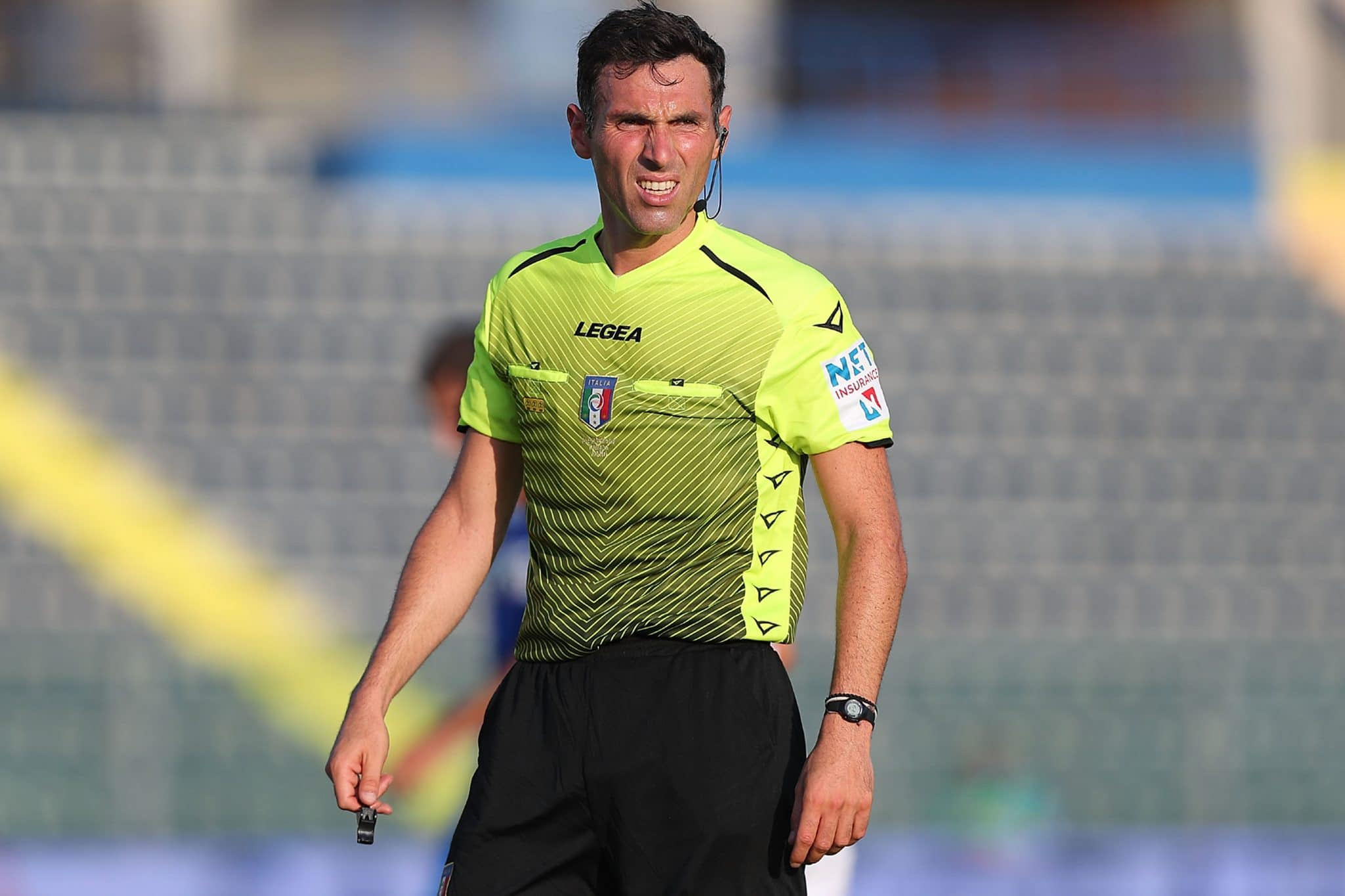 EMPOLI, ITALY - AUGUST 15: Juan Luca Sacchi referee looks on during the Coppa Italia match between Empoli FC and Vicenza at Stadio Carlo Castellani on August 15, 2021 in Empoli, Italy.  (Photo by Gabriele Maltinti/Getty Images)