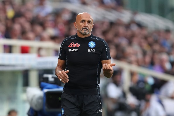 FLORENCE, ITALY - OCTOBER 03: Luciano Spalletti manager of SSC Napoli gestures during the Serie A match between ACF Fiorentina v SSC Napoli  at Stadio Artemio Franchi on October 3, 2021 in Florence, Italy.  (Photo by Gabriele Maltinti/Getty Images)