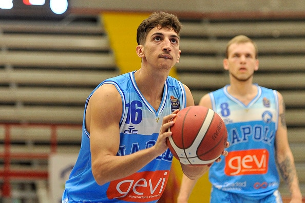 NAPOLI, ITALY - 2021/09/13: Lorenzo Uglietti player of Gevi Napoli, during the SuperCoppa basketball match between Gevi Napoli vs Germani Brescia, final result 74 - 81, match played at Palabarbuto in Naples. (Photo by Vincenzo Izzo/LightRocket via Getty Images)