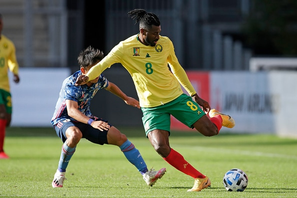 UTRECHT, NETHERLANDS - OCTOBER 9: (L-R) Takefusa Kubo of Japan, Andre Frank Zambo Anguissa of Cameroon during the  International Friendly match between Japan  v Cameroon at the Stadium Galgenwaard on October 9, 2020 in Utrecht Netherlands (Photo by Laurens Lindhout/Soccrates/Getty Images)