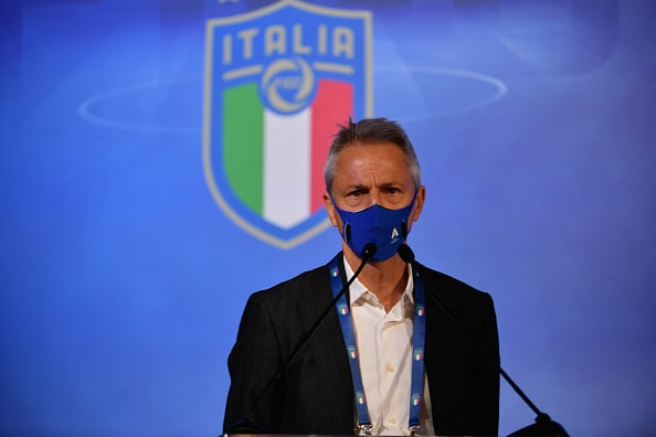 ROME, ITALY - FEBRUARY 22: Lega Serie A President Paolo Dal Pino attends the FIGC Elective Assembly at Cavalieri Waldorf Astoria Hotel on February 21, 2021 in Rome, Italy.  (Photo by Marco Rosi/Getty Images)