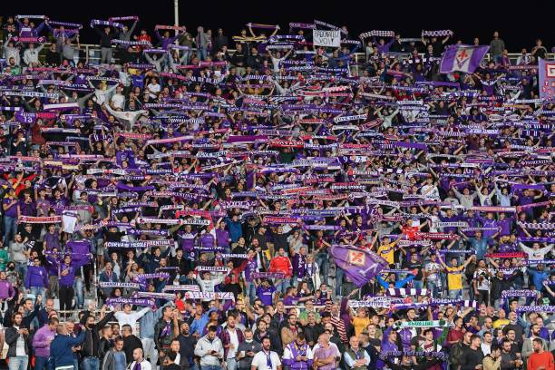 Fiorentina fans during the Italian football Serie A match ACF Fiorentina vs Inter - FC Internazionale on September 21, 2021 at the Artemio Franchi stadium in Florence, Italy (Photo by Lisa Guglielmi/LiveMedia/NurPhoto via Getty Images)