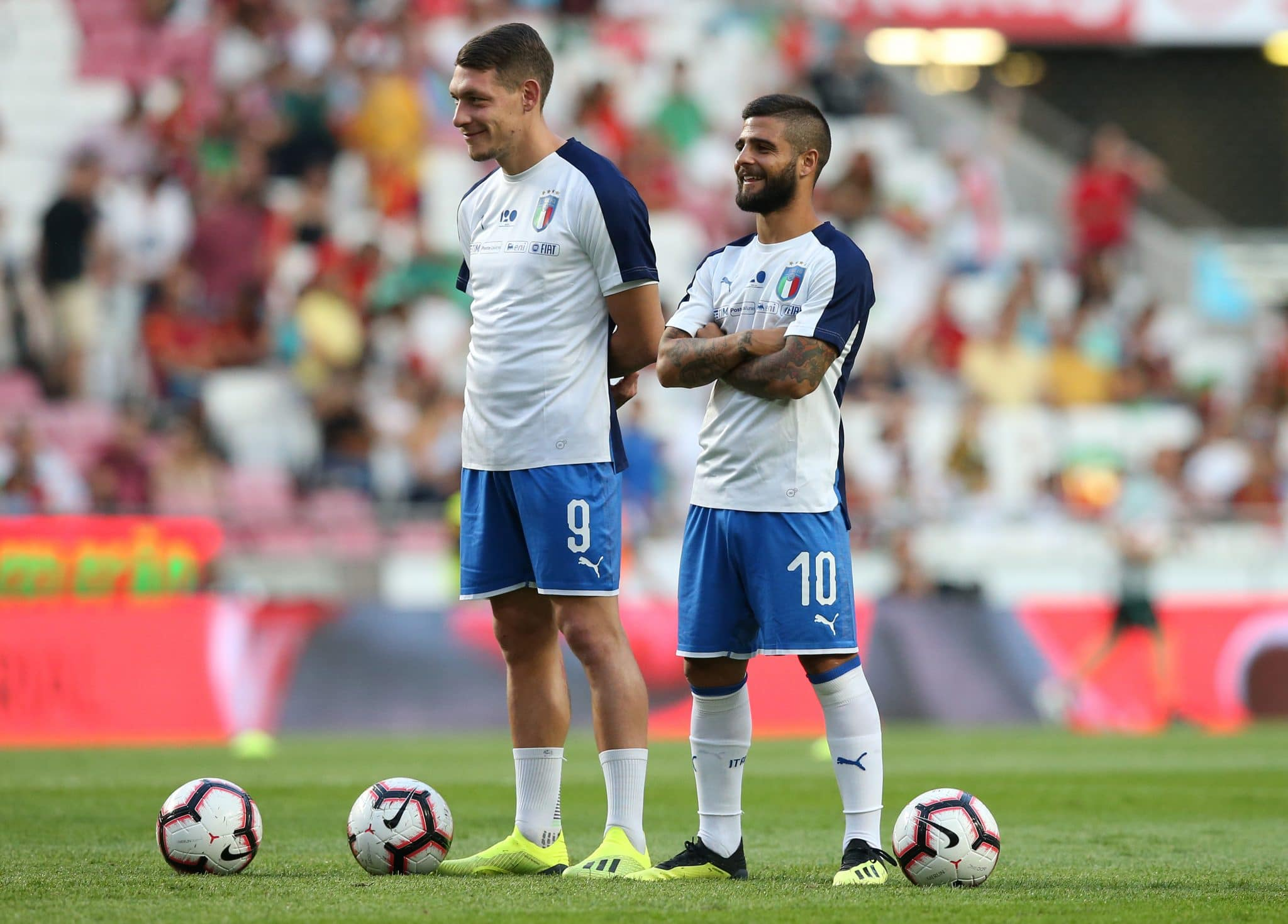 LISBON, PORTUGAL - SEPTEMBER 10:  Andrea Belotti of Italy and Torino FC and Lorenzo Insigne of Italy and SSC Napoli during the UEFA Nations League A - Group 3 match between Portugal and Italy at Estadio da Luz on September 10, 2018 in Lisbon, Portugal.  (Photo by Gualter Fatia/Getty Images)