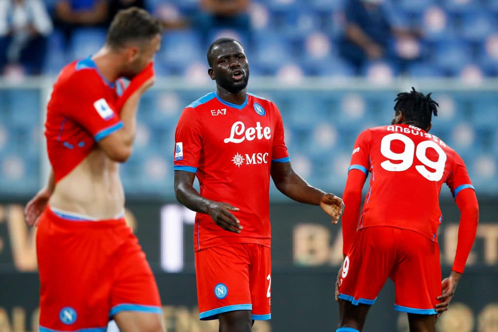 GENOA, ITALY - SEPTEMBER 23: (BILD OUT) Kalidou Koulibaly of SSC Napoli gestures during the Serie A match between UC Sampdoria and SSC Napoli at Stadio Luigi Ferraris on September 23, 2021 in Genoa, Italy. (Photo by Matteo Ciambelli/DeFodi Images via Getty Images)