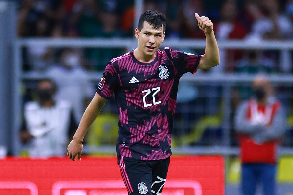 MEXICO CITY, MEXICO - OCTOBER 10: Hirving Lozano of Mexico celebrates after scoring the third goal of his team during the match between Mexico and Honduras as part of the Concacaf 2022 FIFA World Cup Qualifier at Azteca Stadium on October 10, 2021 in Mexico City, Mexico. (Photo by Hector Vivas/Getty Images)