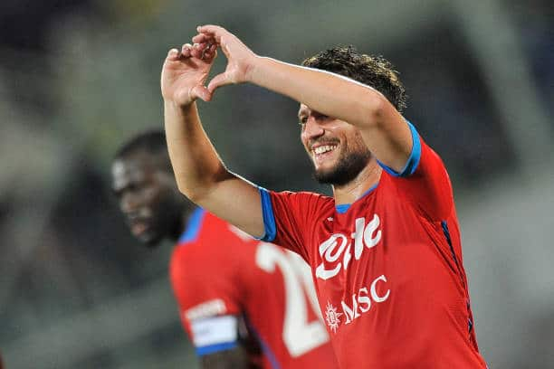 FLORENCE, ITALY - 2021/10/03: Dries Mertens player of Napoli, during the match of the Italian Serie A league between Fiorentina vs Napoli final result 1-2, match played at the Artemio Franchi stadium in Florence. (Photo by Vincenzo Izzo/LightRocket via Getty Images)