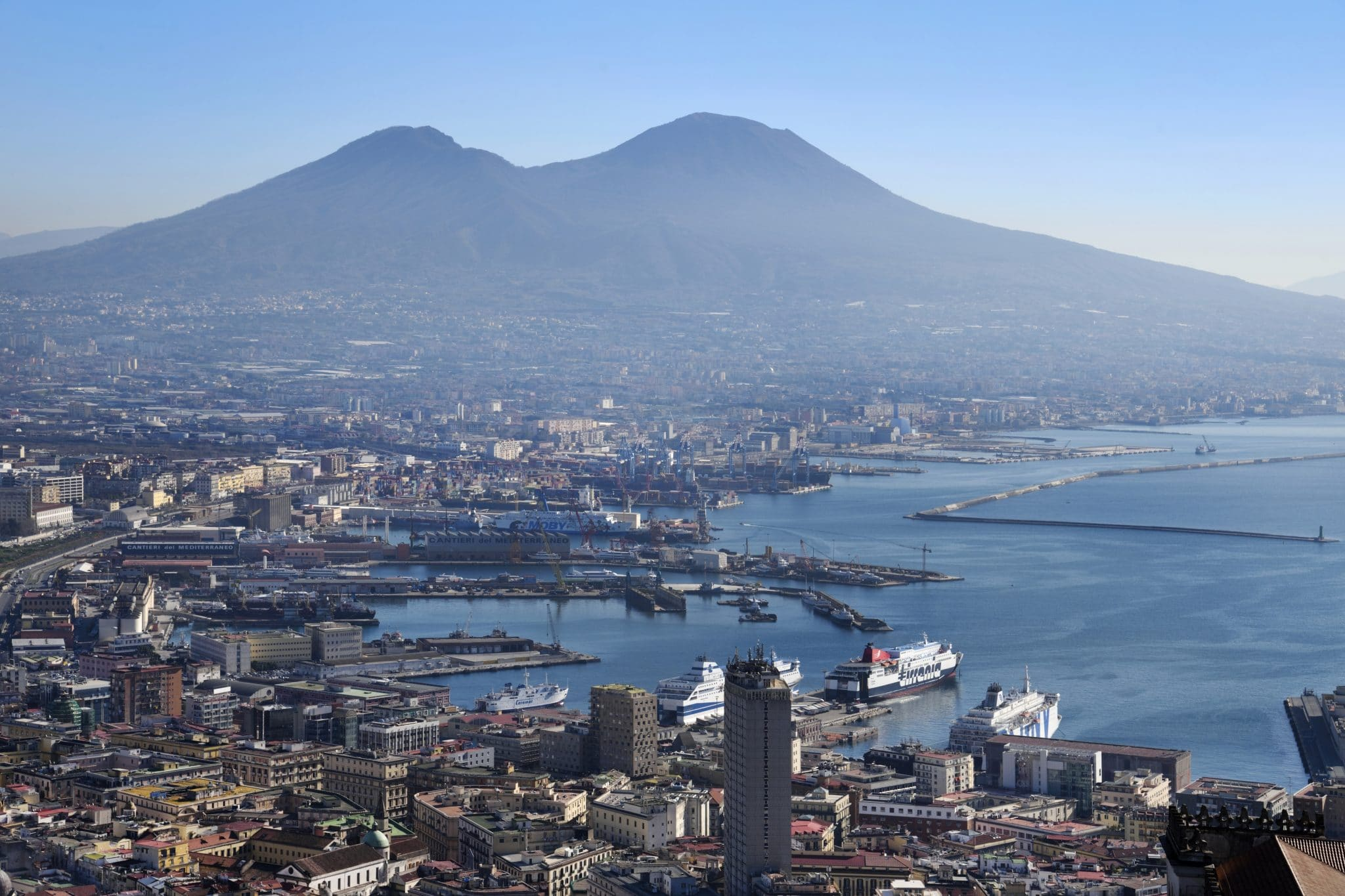 Panorama Over the City From Castel Sant'elmo. Naples. Campania. Italy. (Photo by: Claudio Ciabochi/Education Images/Universal Images Group via Getty Images)