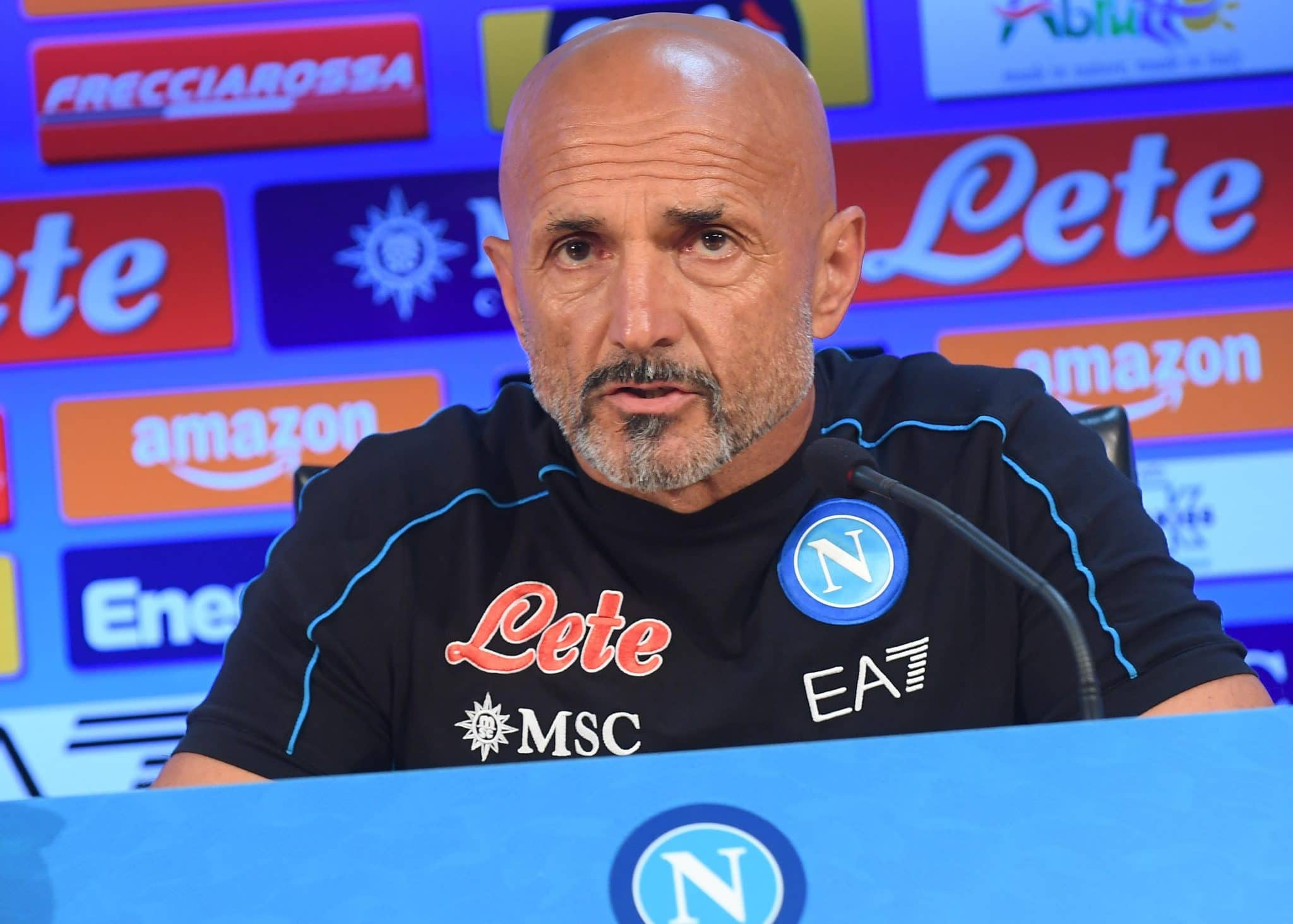 NAPLES, ITALY - SEPTEMBER 25: Luciano Spalletti speaks at a press conference on September 25, 2021 in Naples, Italy. (Photo by SSC NAPOLI/SSC NAPOLI via Getty Images)