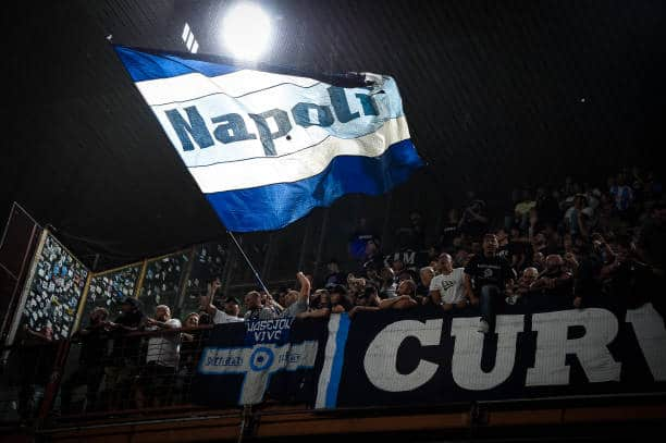 Napoli supporters on the stands during the Serie A match between UC Sampdoria and SSC Napoli at Stadio Luigi Ferraris, Genova, Italy on 23 September 2021. (Photo by Giuseppe Maffia/NurPhoto via Getty Images)