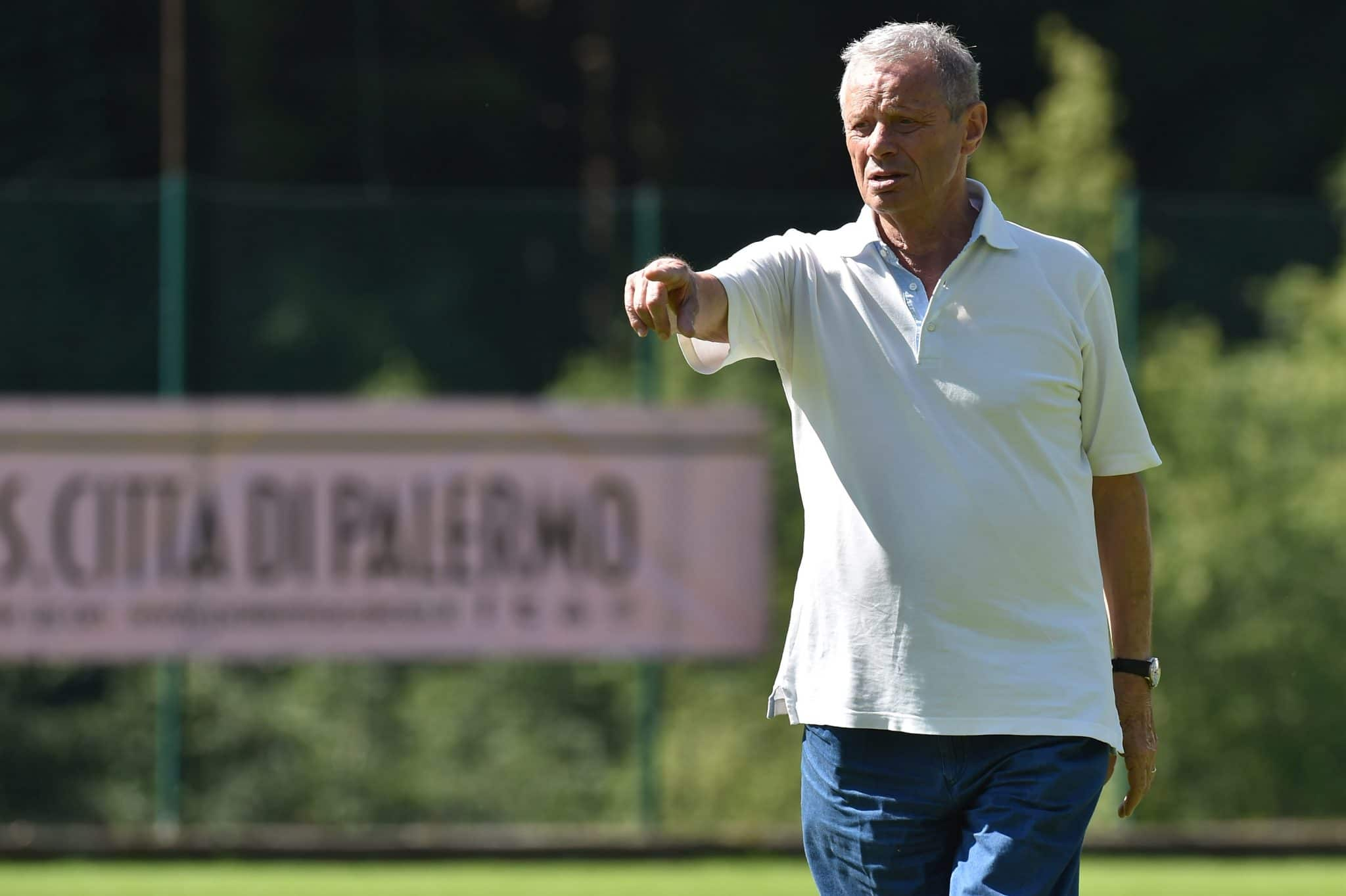 BELLUNO, ITALY - JULY 25:  Palermo owner Maurizio Zamparini looks on during a training session at the US Citta' di Palermo training camp on July 25, 2018 in Belluno, Italy.  (Photo by Tullio M. Puglia/Getty Images)